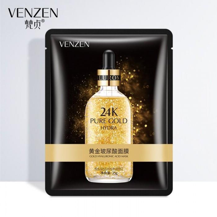 Venzen маска для лица увлажняющая с гиалуроновой кислотой и золотом 24K Gold