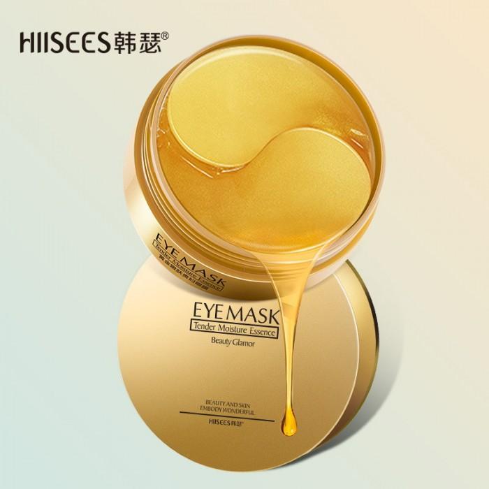 Hiisees патчи для век гидрогелевые золотые 60 шт